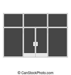 White Shopfront with Large Black Blank Windows. Vector