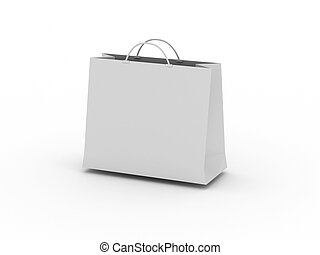 White shopping bag isolated on white background. High...