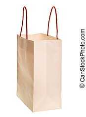white shopping bag isolated - white shopping bag with red...
