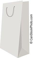 White shopping bag mockup, realistic style