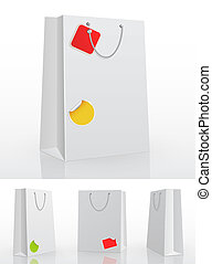 White shopping bag on white background