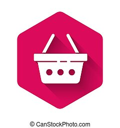 White Shopping basket icon isolated with long shadow. Online buying concept. Delivery service sign. Shopping cart symbol. Pink hexagon button. Vector Illustration