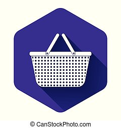 White Shopping basket icon isolated with long shadow. Online buying concept. Delivery service sign. Shopping cart symbol. Purple hexagon button. Vector Illustration