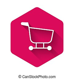 White Shopping cart icon isolated with long shadow. Food store, supermarket. Pink hexagon button. Vector Illustration