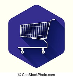 White Shopping cart icon isolated with long shadow. Online buying concept. Delivery service sign. Supermarket basket symbol. Purple hexagon button. Vector Illustration