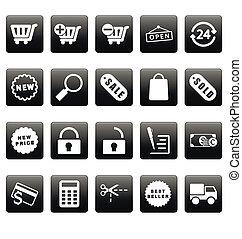 White shopping icons on black squares