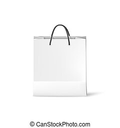 White shopping paper bag. Bag template isolated on white background. Vector illustration