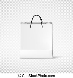 White shopping paper bag. Bag template. Vector illustration isolated on transparent background