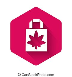 White Shopping paper bag of medical marijuana or cannabis leaf icon isolated with long shadow. Buying cannabis. Hemp symbol. Pink hexagon button. Vector Illustration