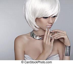 White Short Hair. Fashion stylish blond girl model. Haircut. Hai
