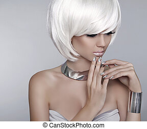 White Short Hair. Fashion stylish blond girl model. Haircut. Hai