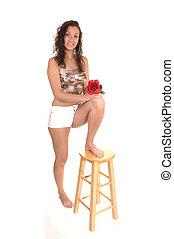 White shorts girl.