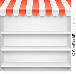 White Showcase with Red Awning - White blank showcase with...