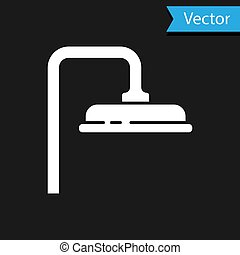 White Shower head with water drops flowing icon isolated on black background. Vector Illustration