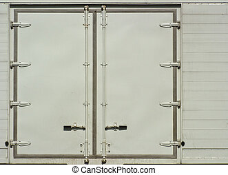 White side door of container truck as background
