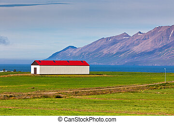 White Siding Icelandic House with Red Roof