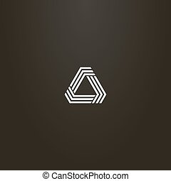 white sign on a black background. simple vector line art sign modern futuristic triangular structure of three lines with obtuse angles