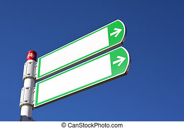 white sign with blue sky