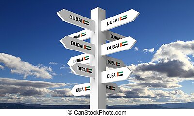 White signpost with Dubai city name on blue sky background