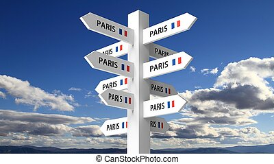 White signpost with Paris city name on blue sky background