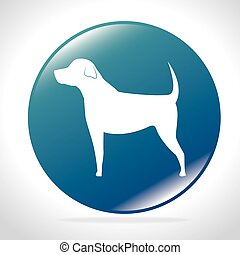 white silhouette big dog blue button icon design