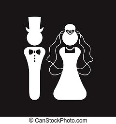 White silhouette Bride and Groom wedding sign and symbol icon