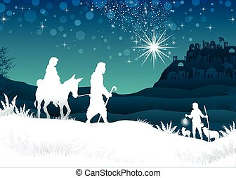 White Silhouette Mary and Joseph