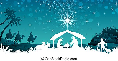 White silhouette nativity scene - nativity scene with the...