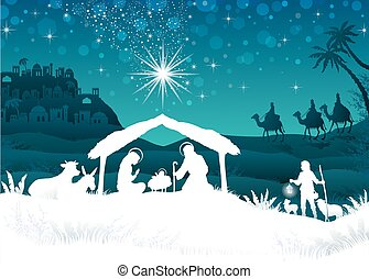 White silhouette nativity scene with magi - nativity scene...