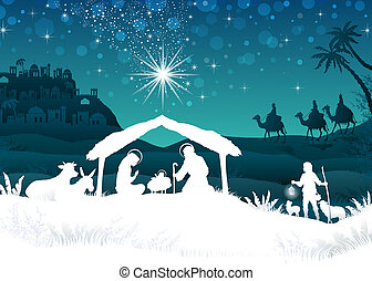 White silhouette nativity scene with magi - nativity scene ...