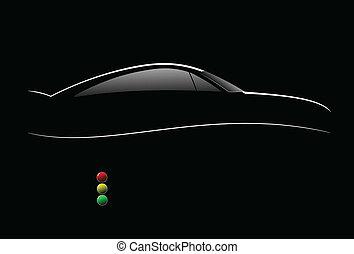 White silhouette of car sedan on black background. Vector...