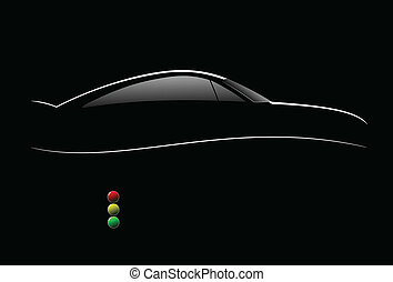 White silhouette of car sedan on black background. Vector...