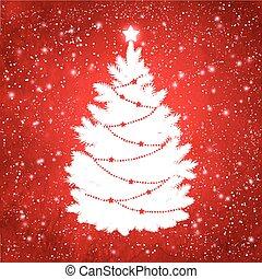 White silhouette of Christmas tree