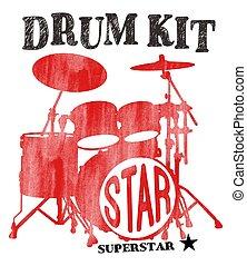 drum-type illustration - White silhouette of drum-type ...