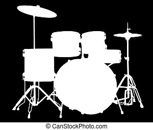 White silhouette of drum-type illustration on a black background