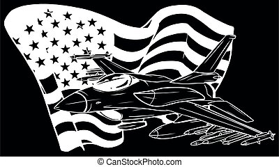 white silhouette of Military fighter jets with american flag. Vector illustration