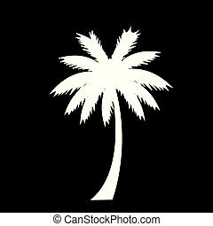 white silhouette of palm tree icon isolated on black background.