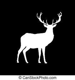 White silhouette of reindeer with big horns isolated on black background.