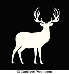 White silhouette of reindeer with big horns on black background