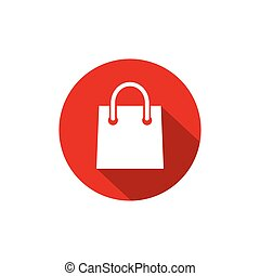 white silhouette of shopping paper bag with shadow in red circle. flat icon isolated on white.