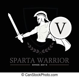 Sparta Warrior - White silhouette of sparta warrior. Sparta...