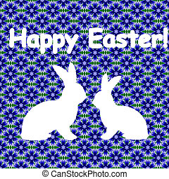 White silhouette of two Easter bunny rabbits. Design Easter colorful card. Vector-art illustration on a background decorated with cornflower flower pattern