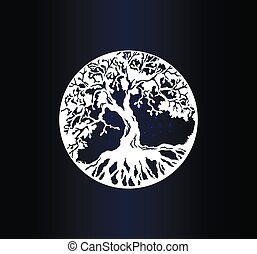 White silhouette tree of life on gradient background