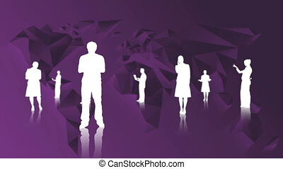 White silhouettes of business