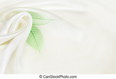 White silk background with flower drapery