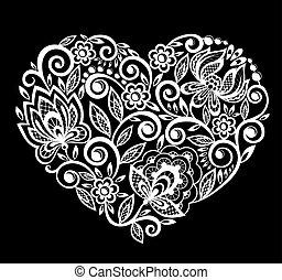white., silueta, corazón, leaves., aislado, encaje, flores