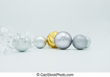 White, silver and golden christmas balls.