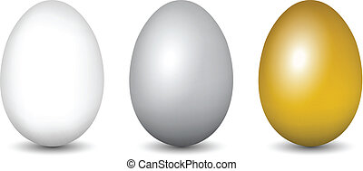 White, Silver, Gold eggs. Vector illustration set
