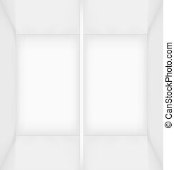 White simple empty room interior divided into two