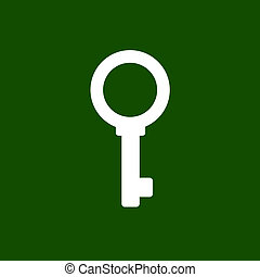 Key Icon - White Simple Key Icon on Green Background. Vector